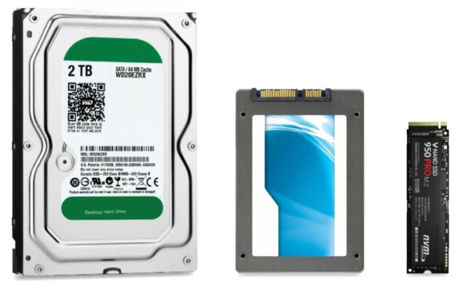 Image of hard drive, solid state drive and M2